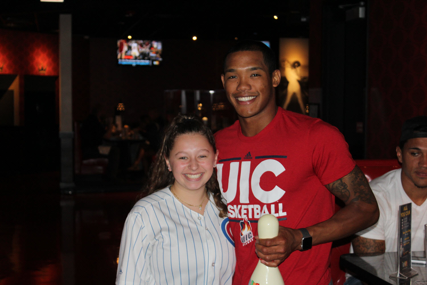 Chicago Cubs' Addison Russell visits Kings Bowl Lincoln Park