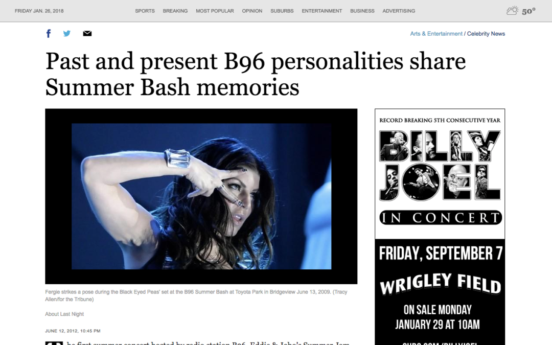 Chicago Tribune B96 Summer Bash Mention