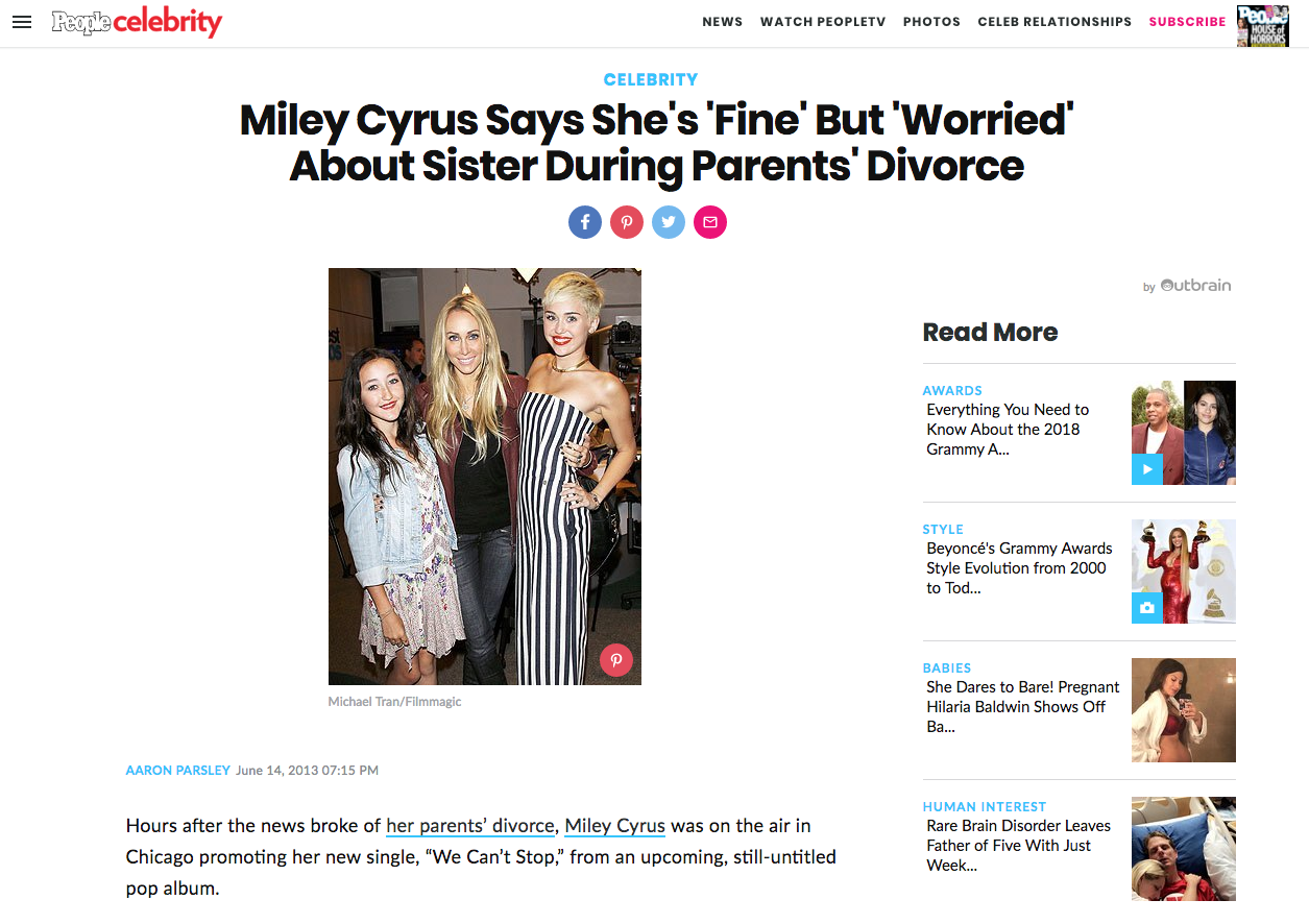 Shelly Interview About Miley Cyrus' Parent's Divorce Featured in People Magazine