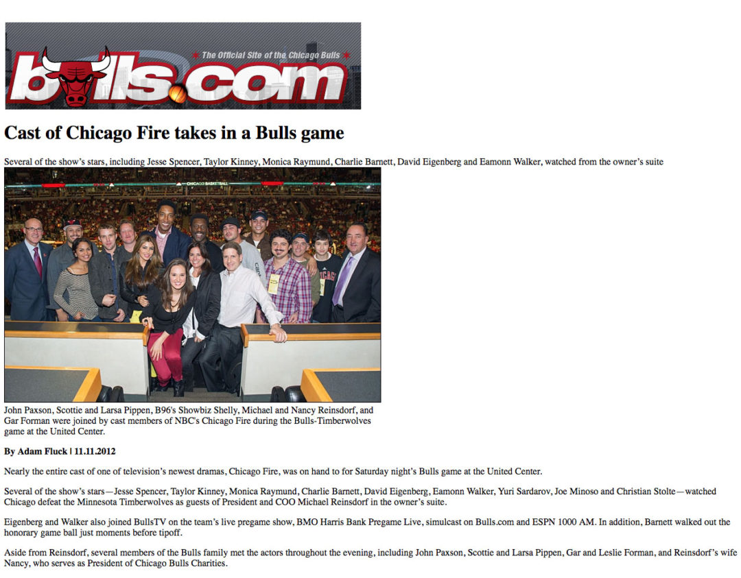 "Bulls Game With ""Chicago Fire"" Cast"
