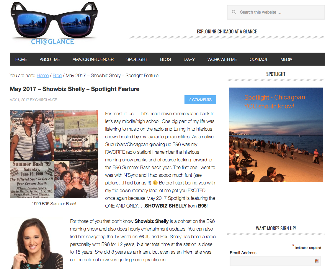 Showbiz Shelly – Spotlight Feature on Chi@Glance