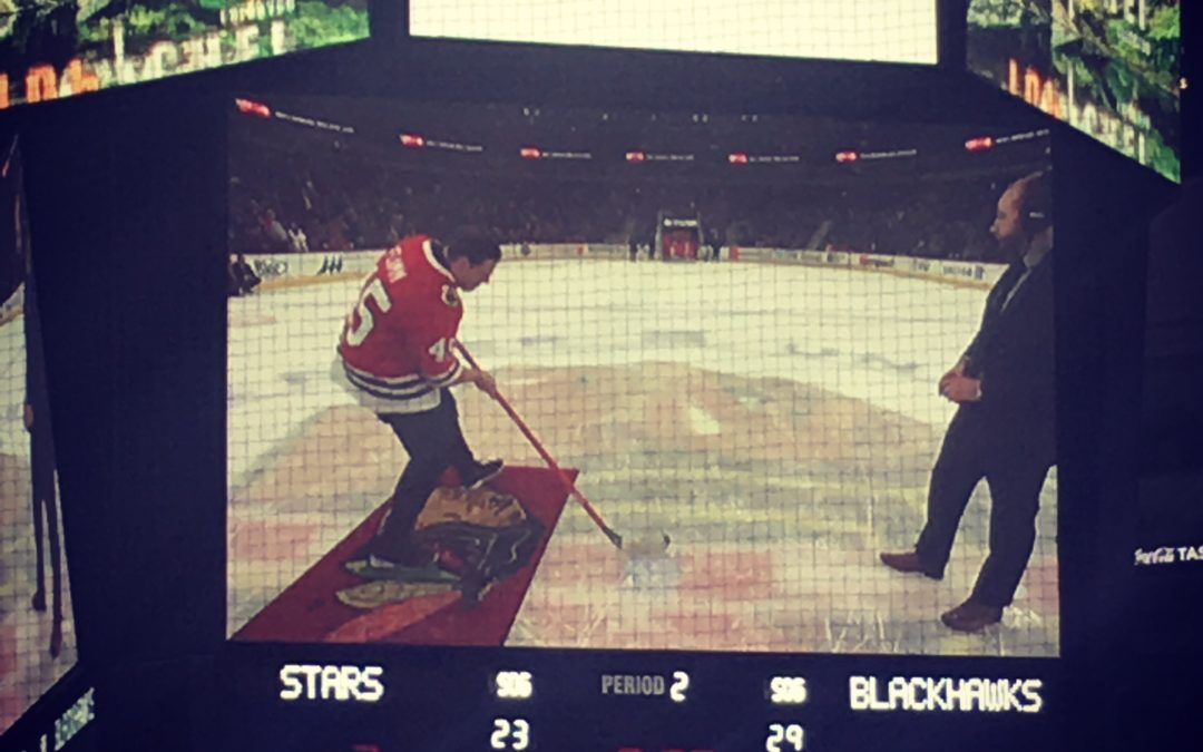 "Joe Flamm Scores at Chicago Blackhawks ""Shoot The Puck"" Challenge"