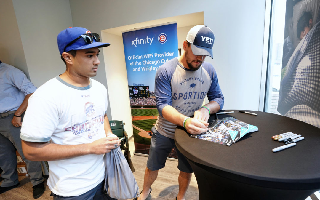Celebrity Sighting: Kyle Schwarber at Lakeview Xfinity Store